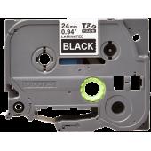 Taśma Brother TZe-355 biały nadruk na czarnym tle, 24mm szerokości, laminowana