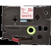 Taśma Brother TZe-262 czerwony nadruk na białym tle, 36mm szerokości, laminowana