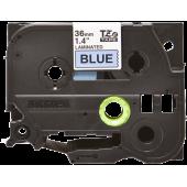 Taśma Brother TZe-561 czarny nadruk na niebieskim tle, 36mm szerokości, laminowana