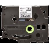 Taśma Brother TZe-M961 36mm srebrna matowa czarny nadruk