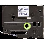 Taśma Brother TZe FA3 12mm z włókna biała niebieski nadruk
