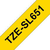 Taśma Brother TZe-SL651 samolaminująca 24mm żółta czarny nadruk