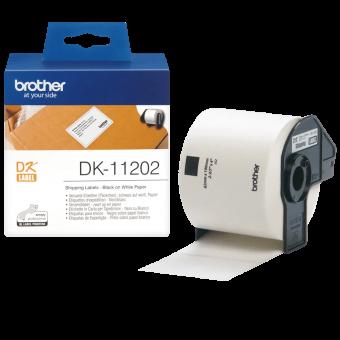 Etykiety Brother DK11202 do drukarek QL, 62mmx 100mm, czarny nadruk na białym tle, 300 etykiet na rolce