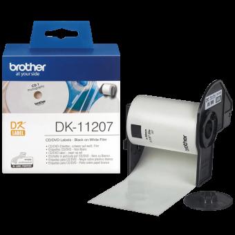 Etykiety Brother DK11207, etykiety okrągłe na płyty CD/DVD, średnica 58mm