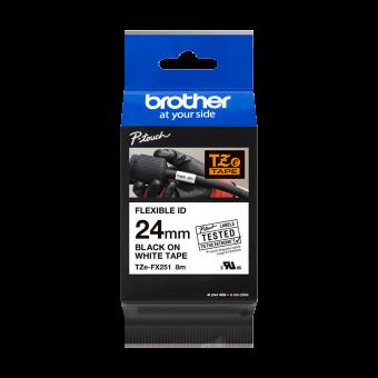 Taśma laminowana Brother TZe FX251 24 mm, FLEXIBLE ID, elastyczna biała czarny nadruk
