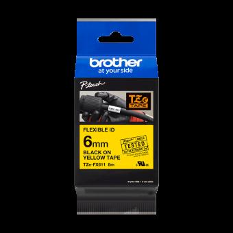 Taśma Brother TZe FX611 6mm żółta czarny nadruk