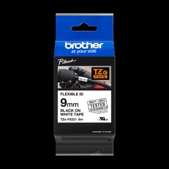 Taśma identyfikacyjna Flexi ID TZe-FX221 firmy Brother – czarny nadruk na białym tle, 9mm szerokości