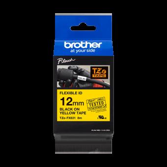 Taśma Brother TZe FX631 12 mm żółta czarny nadruk