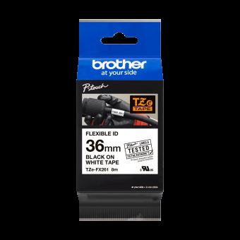 Taśma laminowana Brother TZe FX261 36 mm, FLEXIBLE ID, elastyczna biała czarny nadruk