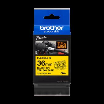 Taśma laminowana Brother TZe FX661 36mm, FLEXIBLE ID, elastyczna żółta czarny nadruk