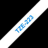 Taśma Brother TZe-223 9mm biała niebieski nadruk laminowana