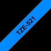 Taśma Brother TZe-521 9mm niebieska czarny nadruk