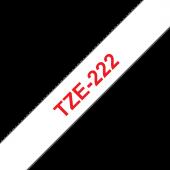 Taśma Brother TZe-222 9mm biała czerwony nadruk