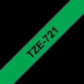Taśma Brother TZe-721 9mm zielona czarny nadruk