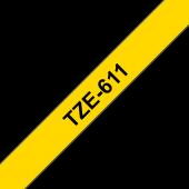 Taśma Brother TZe-611 laminowana 6 mm żółta czarny nadruk