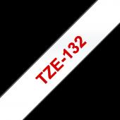 Taśma Brother TZe-132 12mm przezroczysta czerwony nadruk laminowana