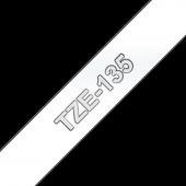 Taśma Brother TZe-135 12mm przezroczysta biały nadruk laminowana