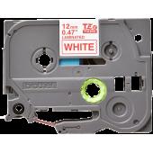 Taśma Brother TZe-232 12mm biała czerwony nadruk laminowana