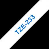 Taśma Brother TZe-233 12mm biała niebieski nadruk laminowana