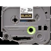 Taśma Brother TZe-334 12mm czarna złoty nadruk laminowana