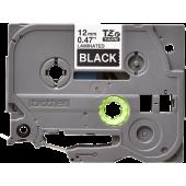 Taśma Brother TZe-335 12mm czarna biały nadruk laminowana