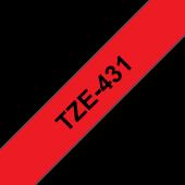 Taśma Brother TZe-431 12mm czerwona czarny nadruk laminowana