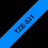 Taśma Brother TZe-531 12mm niebieska czarny nadruk laminowana