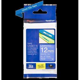 Taśma Brother TZe-535 12mm niebieska biały nadruk laminowana