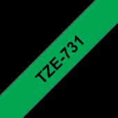 Taśma Brother TZe-731 12mm zielona czarny nadruk laminowane