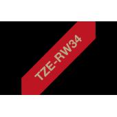 TZe-RW34 Brother wstążkowa czerwona, złoty nadruk szer. 12mm