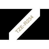 TZe-R234 Brother wstążkowa biała, złoty nadruk szer. 12mm