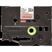 Taśma Brother TZe-B31 12mm fluorescencyjna pomarańczowa czarny nadruk