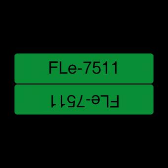 Etykiety Brother FLe-7511 czarny nadruk na zielonym tle, 21mm szerokości