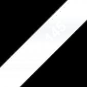 Taśma Brother TZe-145 18mm przezroczysta biały nadruk