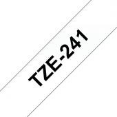 Taśma Brother TZe-241 18mm biała czarny nadruk