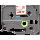 Taśma Brother TZe-242 18mm biała czerwony nadruk