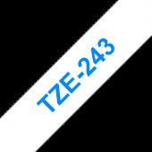 Taśma Brother TZe-243 18mm biała niebieski nadruk
