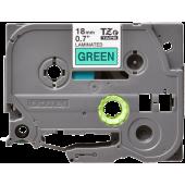 Taśma Brother TZe-741 18mm zielona czarny nadruk