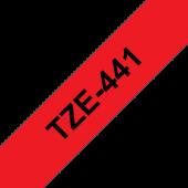 Taśma Brother TZe-441 18mm czerwona czarny nadruk