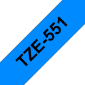 Taśma Brother TZe-551 czarny nadruk na niebieskim tle, 24mm szerokości, laminowana