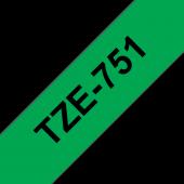 Taśma Brother TZe-751 czarny nadruk na zielonym tle, 24mm szerokości, laminowana